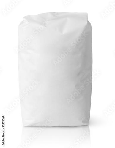 Leinwanddruck Bild Blank paper bag package of salt isolated on white