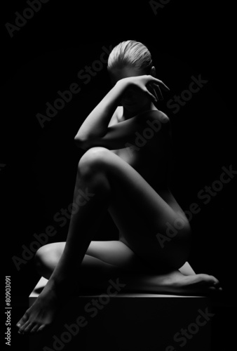 Aluminium Akt Beautiful girl posing naked