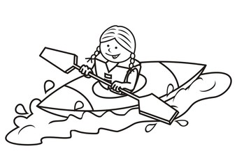 kayak and girl, coloring book