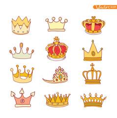 crown, vector  hand drawn vector.