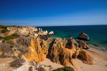 rock formations on the coast, the province of Algarve, Portugal