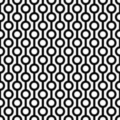 Retro Seamless Pattern Circles/Stripes Black/White