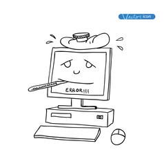 sick pc, hand drawn vector illustration.