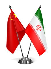 China and Iran - Miniature Flags.