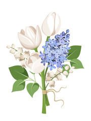 Bouquet of tulips, lilac flowers and lily of the valley. Vector.