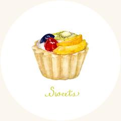 Watercolor cupcake. Vector illustration