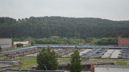 Panorama of water cleaning facility buildings and equipment