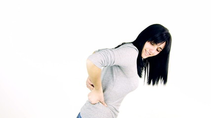 Beautiful woman with very bad back pain