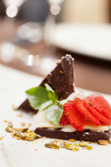 dessert with chocolate and strawberry