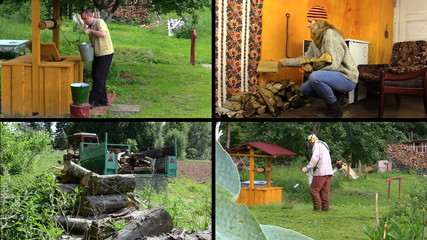 Active peasant people work in village. Video clips collage.