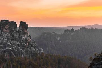 Morgendämmerung in der Bastei, Sächsische Schweiz