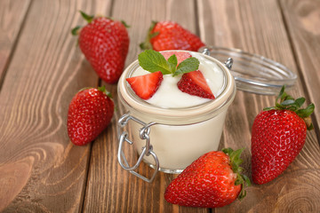 Natural yogurt with  strawberry