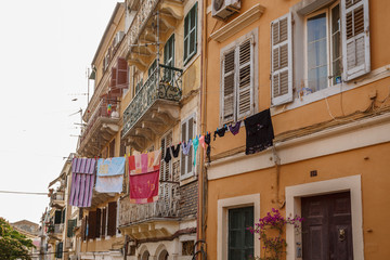 Clothes on streets of Corfu town