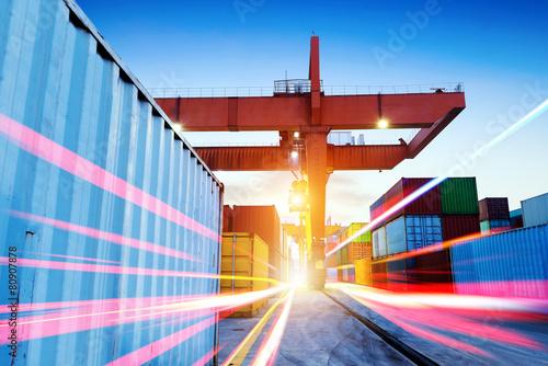 Leinwanddruck Bild Container Terminal