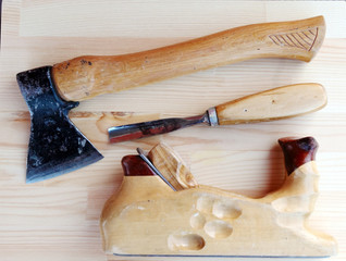 Carpenter Tools Axe, Plane and Chisel