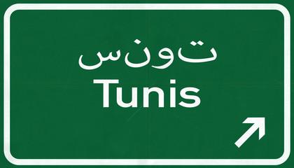 Tunis Tunisia Highway Road Sign