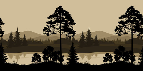 Seamless Landscape, Trees, River and Mountains