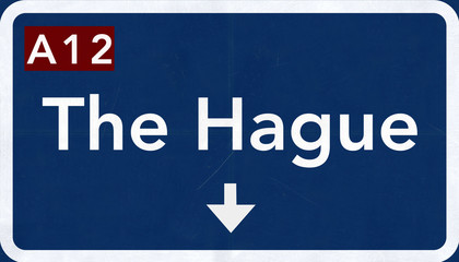The Hague Netherlands Highway Road Sign