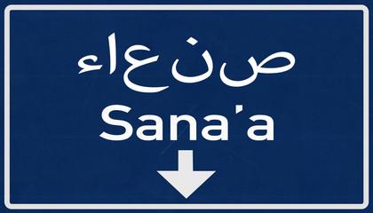 Sanaa Yemen Highway Road Sign