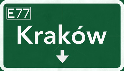 Krakow Poland Highway Road Sign