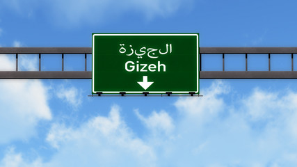 Gizeh Egypt Africa Highway Road Sign