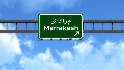 Marrakesh Morocco Africa Highway Road Sign