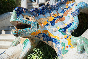 Dragon salamandra of gaudi mosaic