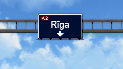 Riga Latvia Highway Road Sign