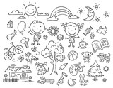 Black and white doodle set - 80911230
