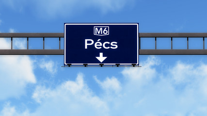 Pecs Hungary Highway Road Sign