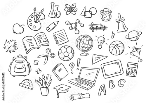 Set of Simple Cartoon School Things, Black and White Outline - 80911442