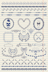 Pen Drawing Seamless Borders and Design Elements