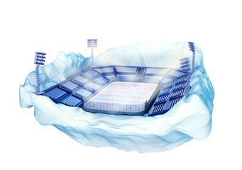 iceberg island with hockey stadium with light towers