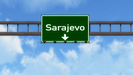 Sarajevo Bosnia and Herzegovina Highway Road Sign