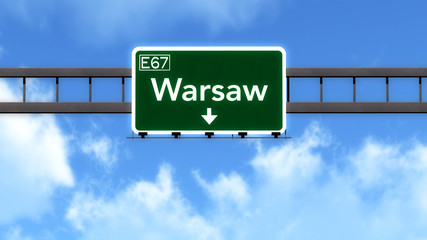 Warsaw Poland Highway Road Sign