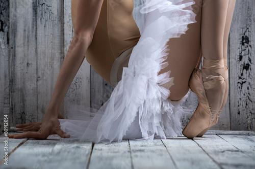 Studio shot, young legs graceful ballerina Plakát