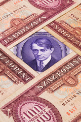 Different Hungarian  banknotes from on the table