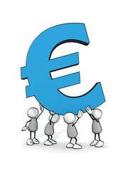 little sketchy men carrying a big blue euro symbol