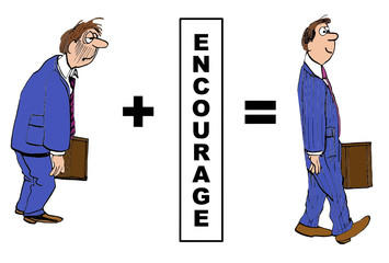 Cartoon of businessman evolution with encouragement.