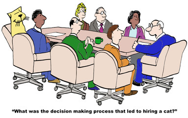 Cartoon of business boss curious about decision process