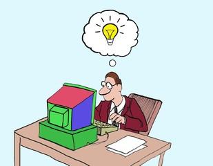 Cartoon of businessman innovator.