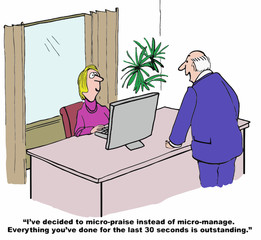 Cartoon of businessman, he is going to micro-praise.