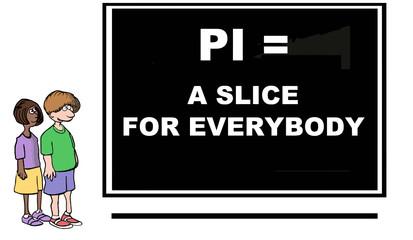 Cartoon of mathematical concept, pi.
