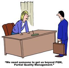 Cartoon of businesswoman and Total Quality Management.