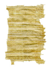 Sheet of ancient paper on a white background.Clipping Path
