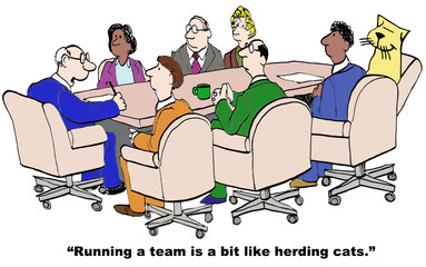 Cartoon of businessman, running a team like herding cats
