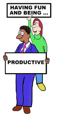 Cartoon of business people being productive.