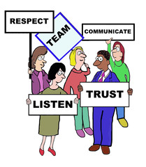Cartoon of team characteristics and qualities.