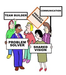 Cartoon of project manager characteristics and qualities.