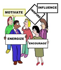 Cartoon of motivate characteristics and qualities.